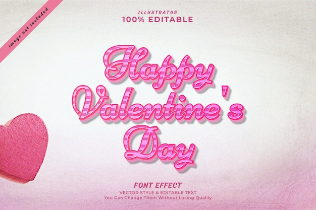Buon san valentino modificabile effetto testo modificabile Vettore Premium