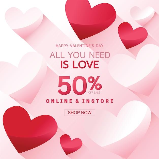 Buon san valentino vendita sfondo, banner, poster o flyer Vettore Premium
