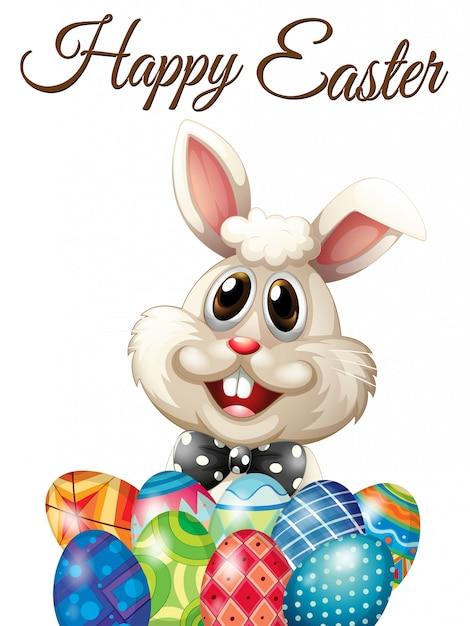 Buona carta di pasqua con coniglietto e uova Vettore gratuito