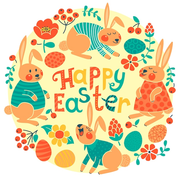 Buona carta di pasqua con simpatici coniglietti e uova colorate. Vettore Premium