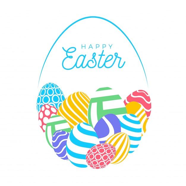 Buona carta di pasqua con uova. molte bellissime uova piatte multicolori realistiche sono disposte a forma di uovo grande. illustrazione per pasqua su fondo bianco. Vettore Premium