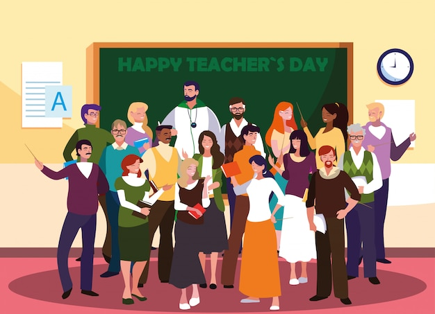 Buona giornata dell'insegnante con un gruppo di insegnanti Vettore Premium