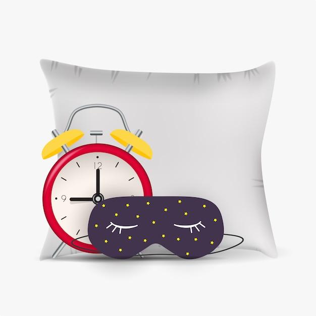 Buona notte sfondo astratto con divertente maschera per dormire, sveglia e cuscino. Vettore Premium