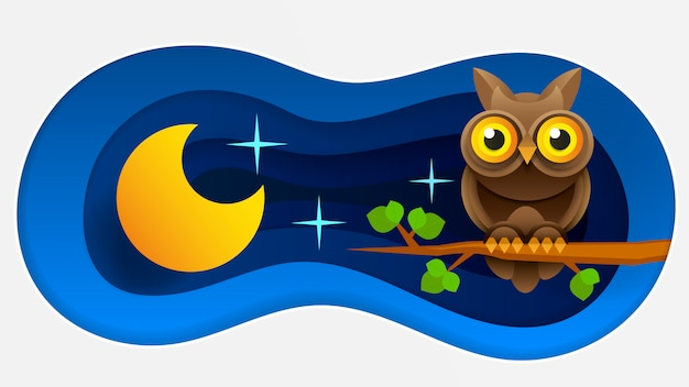 Buona notte sfondo in stile carta Vettore Premium
