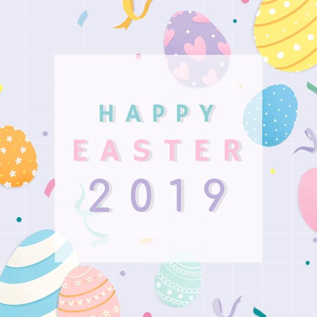 Buona pasqua 2019 card design Vettore gratuito