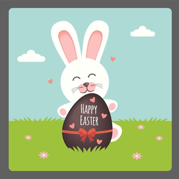 Buona pasqua con coniglio e uovo di cioccolato Vettore Premium