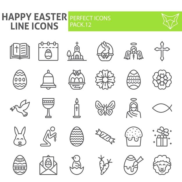 Buona pasqua icona linea set, collezione vacanze di primavera Vettore Premium