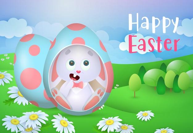 Buona pasqua lettering con coniglietto carino in uovo Vettore gratuito
