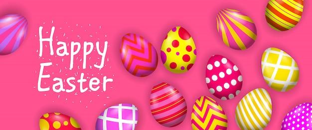Buona pasqua lettering con uova decorate luminose Vettore gratuito