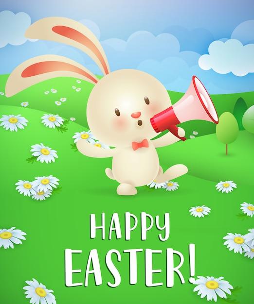 Buona pasqua lettering, coniglietto con megafono e paesaggio Vettore gratuito