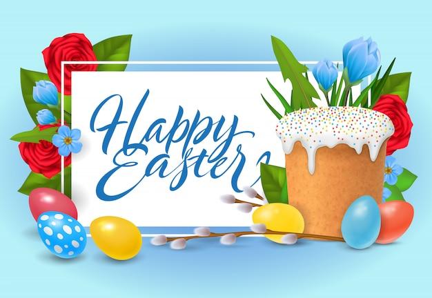Buona pasqua lettering. iscrizione celebrazione religiosa con uova colorate Vettore gratuito