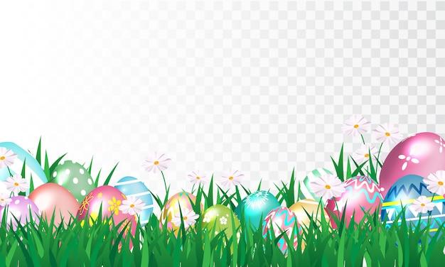 Buona pasqua, uova decorate lucide Vettore Premium