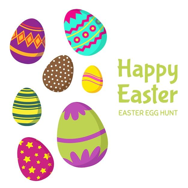 Buona pasqua, uovo di pasqua caccia cartolina d'auguri Vettore Premium