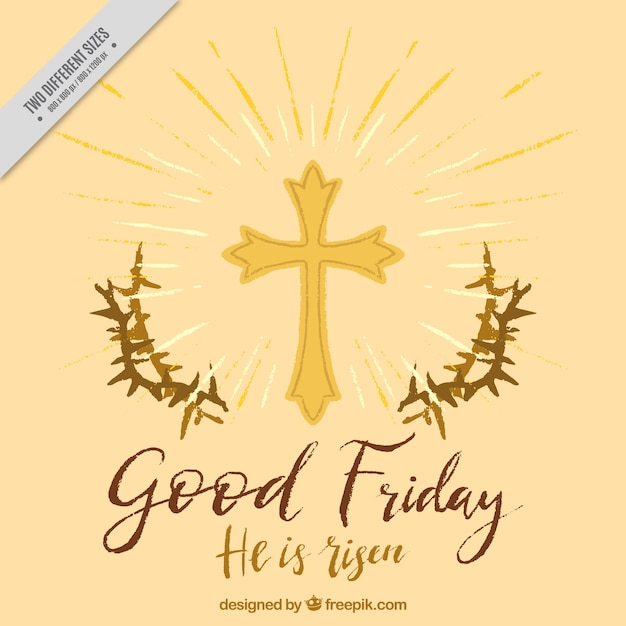 Buona sfondo venerdì di spine e croce dipinta a mano Vettore gratuito