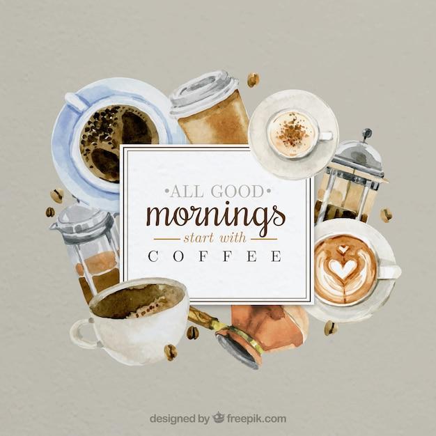 Buongiorno con caffè dipinti a mano Vettore gratuito