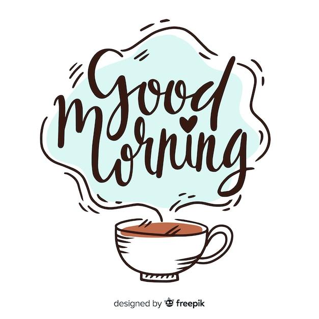 Buongiorno creativo lettering sfondo Vettore gratuito