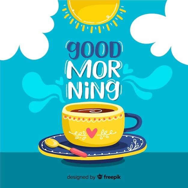 Buongiorno lettering sfondo decorativo Vettore gratuito