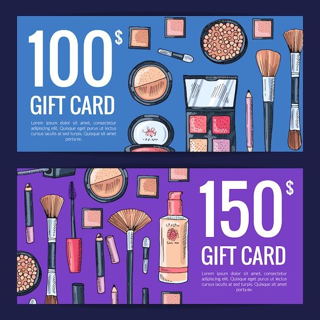 Buoni della carta regalo vettoriale per prodotti di bellezza Vettore Premium