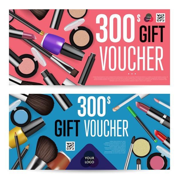 Buoni regalo cosmetici con modello di somma prepagata Vettore Premium
