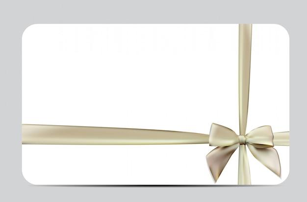 Buono regalo con nastro di seta e fiocco. illustrazione Vettore Premium