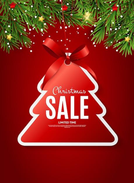 Buono regalo di vendita di natale e capodanno, modello buono sconto Vettore Premium