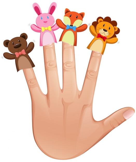 Burattini del dito animale sulla mano umana Vettore Premium