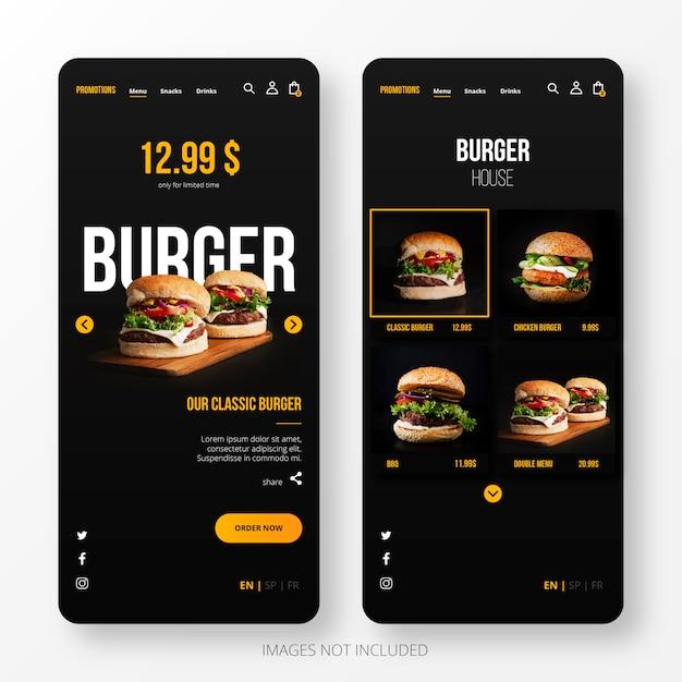 Burger landing page per mobile Vettore gratuito