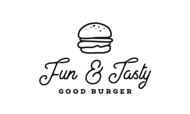 Burger logo design con stile hipster line art drawing Vettore Premium