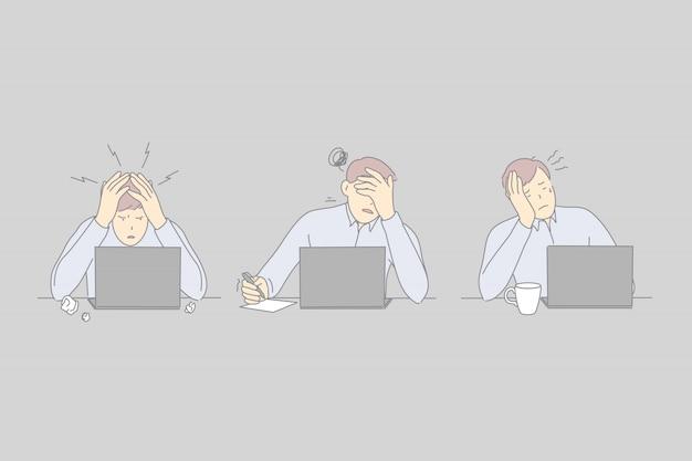 Burnout professionale, esaurimento sul posto di lavoro, concetto di stress dei lavoratori Vettore Premium
