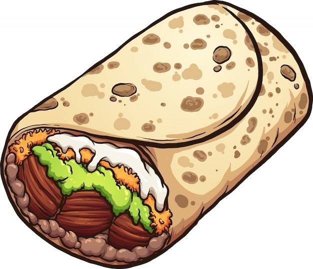 Burrito di cartone animato Vettore Premium