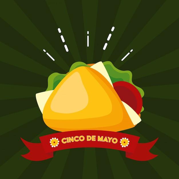 Burrito messicano dell'alimento, illustrazione di cinco de mayo, messico Vettore gratuito