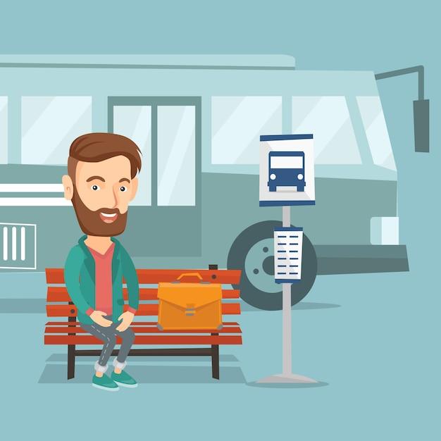 Bus aspettante dell'uomo d'affari alla fermata dell'autobus. Vettore Premium