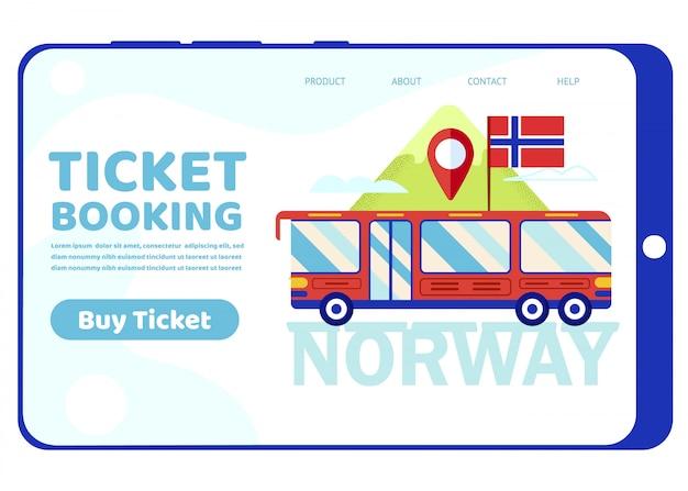Bus di giro con la bandiera della norvegia sul paesaggio montano Vettore Premium