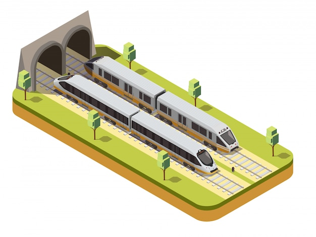 Bus ferroviario e treno passeggeri ad alta velocità che entrano nel tunnel ferroviario nell'ambito della composizione isometrica nel ponte del viadotto Vettore gratuito