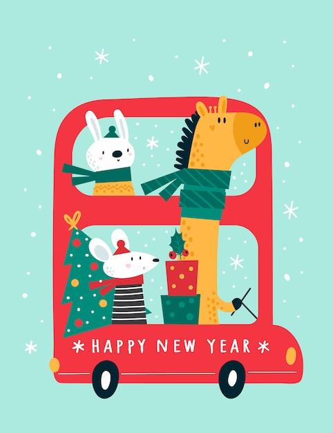 Bus festivo di felice anno nuovo con simpatici animali dei cartoni animati: giraffa, coniglio, topi, topo, topo. Vettore Premium