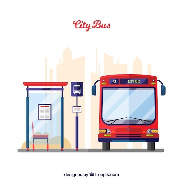 Bus urbano e fermata dell'autobus con design piatto Vettore gratuito