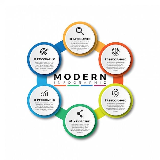 Business cerchio colorato, infografica timeline Vettore Premium