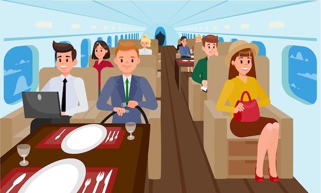 Business class nell'illustrazione piana dell'aeroplano. Vettore Premium