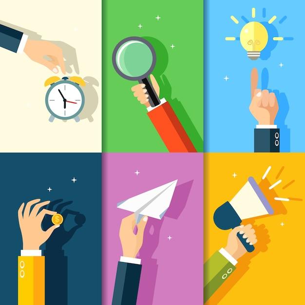 Business mani gesti elementi di design di tocco allarme orologio tenere la lente d'ingrandimento su idea lampadina illustrazione vettoriale Vettore gratuito