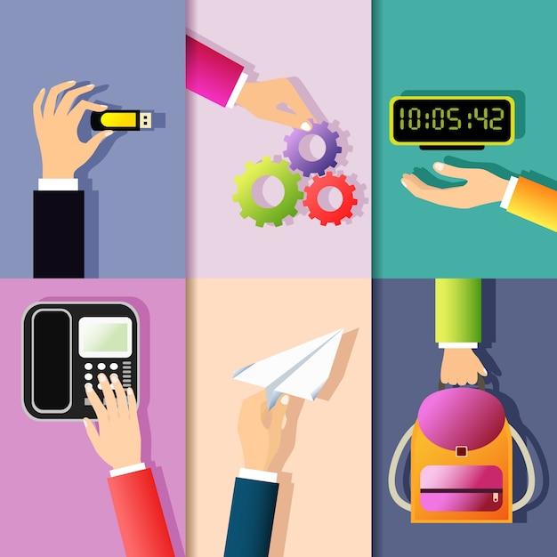 Business mani gesti elementi di progettazione di tenere memoria bastone ruota dentata orologio digitale isolato illustrazione vettoriale Vettore gratuito