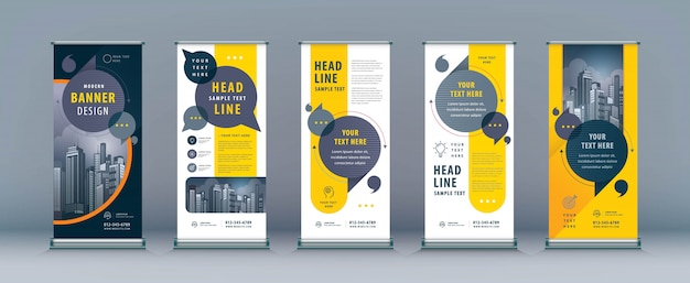 Business roll up set, standee banner template Vettore Premium