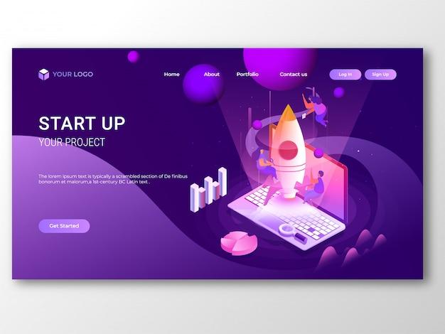 Business start up reattiva pagina di destinazione o banner design. Vettore Premium