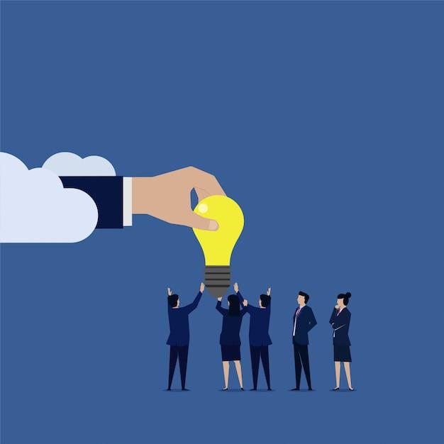 Business team dato idea da internet nuvola Vettore Premium