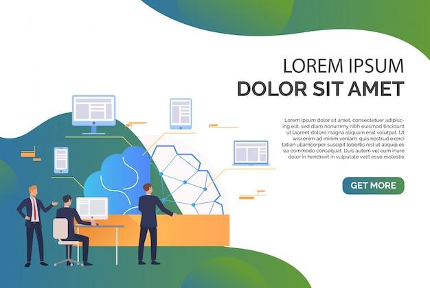 Business team di lavoro, cervello, rete, gadget e testo di esempio Vettore gratuito