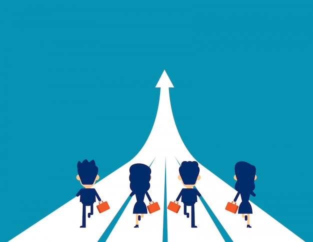 Business team in corsa verso il successo Vettore Premium
