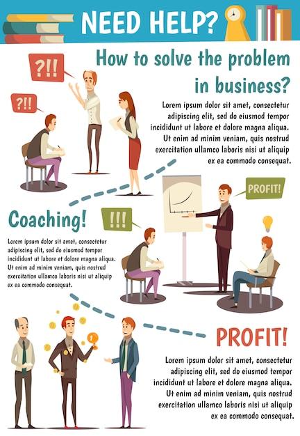 Business trainings e coaching diagramma di flusso Vettore gratuito