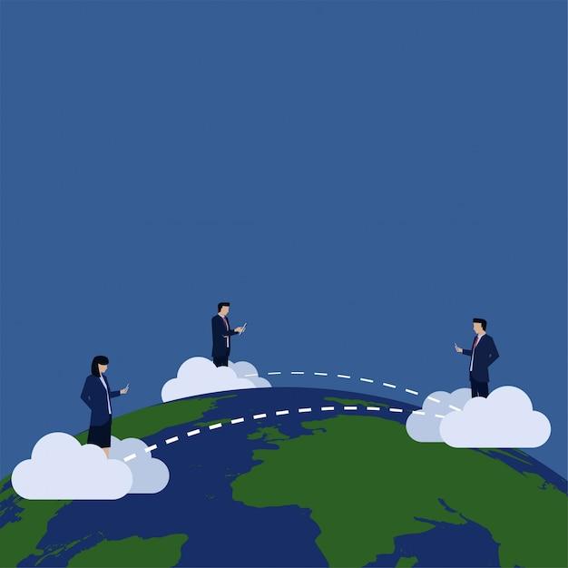 Business utilizzare telefono e tablet internet collegato attraverso la connessione globale del mondo. Vettore Premium