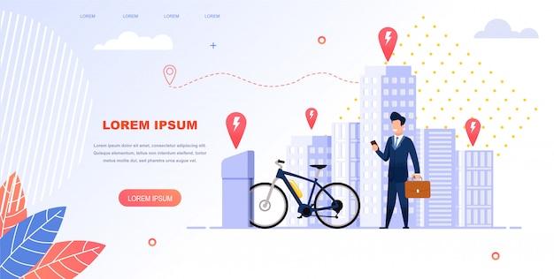 Businessman rent a electric bike for trip. Vettore Premium