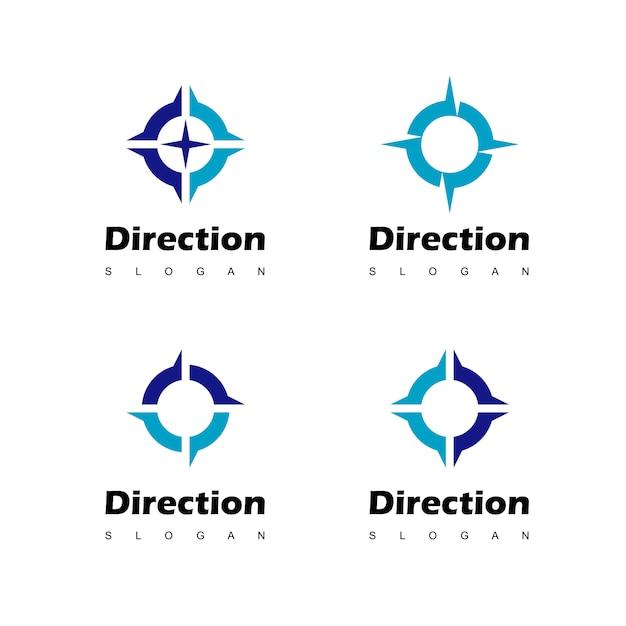 Bussola logo design ispirazione Vettore Premium