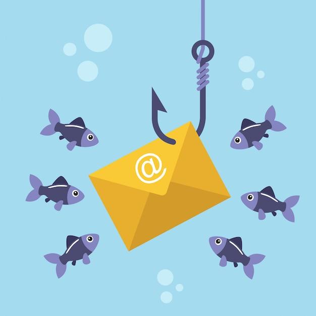 Busta di posta elettronica sul gancio di pesca e pesci che nuotano intorno Vettore Premium